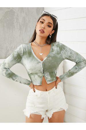 YOINS Tie Dye Button Front Design Long Sleeves Knitwear
