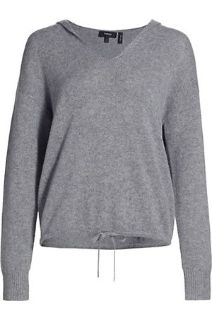 THEORY Women Jumpers - Relaxed V-Neck Cashmere Hoodie