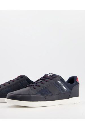 Jack & Jones Trainers with side logo in faux leather navy