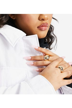 ASOS Curve ASOS DESIGN Curve pack of 2 dome rings in tone