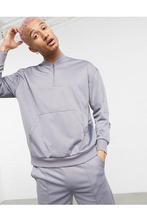 ASOS Half zip sweatshirt in poly-tricot