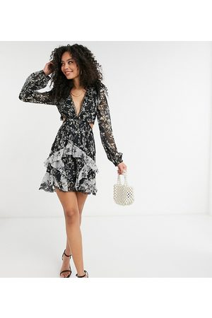 ASOS ASOS DESIGN Tall long sleeve mini dress in mixed floral print with circle trims in mono