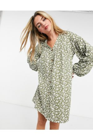 ASOS Women Printed Dresses - Button through mini smock dress with long sleeves in sage floral print