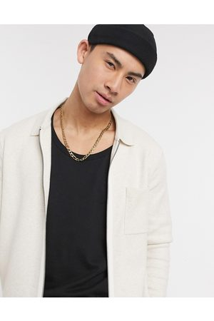 Selected Knitted zip through jacket in ecru