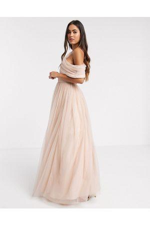 ASOS Tulle fallen shoulder maxi dress in light champagne