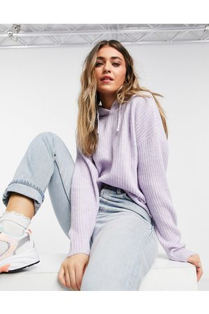 New Look Knitted ribbed hoodie in lilac