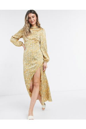 Never Fully Dressed Long sleeve midaxi dress in leaf print