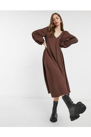 ASOS Textured smock midi dress with v neck in chocolate