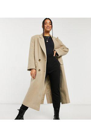 ASOS Petite longline twill grandad coat in camel