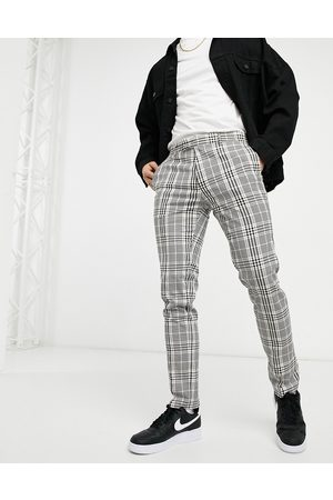 Topman Smart trousers in grey and check