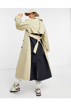 ASOS Women Trench Coats - Spliced trench coat in black and stone