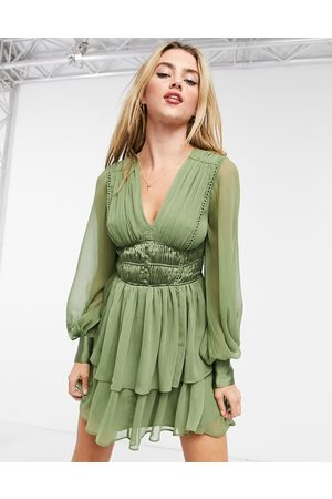 ASOS Button bodice mini dress with ruching detail and skirt splits In Khaki