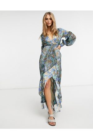 ASOS Women Printed Dresses - Maxi dress in mixed ditsy print with self belt