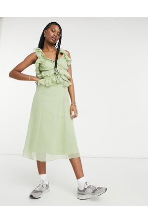 ASOS Tiered ruffle midi dress with tie back in sage