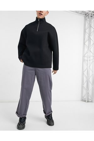 ASOS Chino trousers in wide fit in charcoal