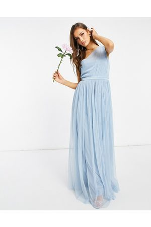 ANAYA With Love Bridesmaid tulle one shoulder maxi dress in soft