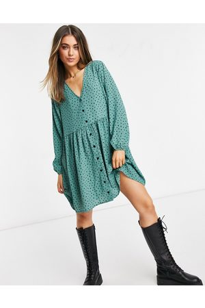 Monki Torborg mini smock dress with button trhough detail in