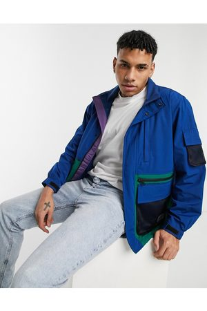 Levi's Levi's Headlands tactical colourblock rain jacket in peony blue