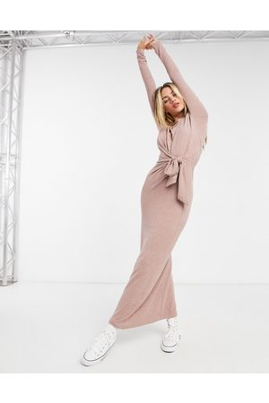ASOS Super soft tie waist dress with long sleeves in dusky rose
