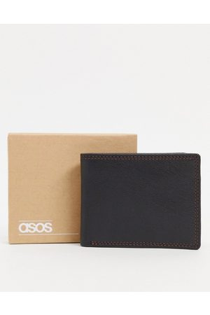 ASOS DESIGN Leather wallet in with burgundy contrast internals and stitch detail