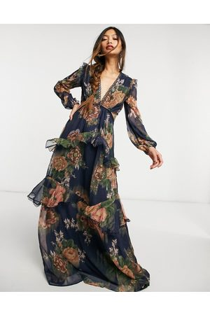 ASOS Maxi dress with long sleeve and circle trim in floral print and embellishment