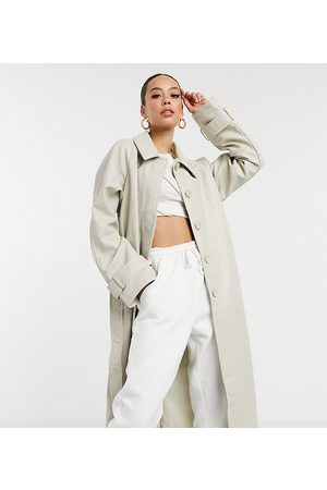 ASOS Tall collared faux leather trench coat in putty