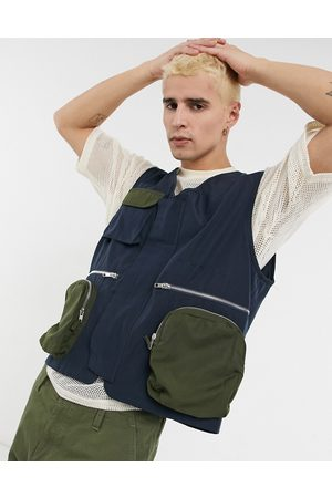Mennace Patchwork utility vest in