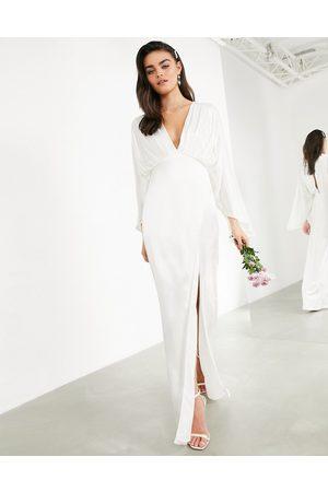 ASOS Cari satin wrap wedding dress with kimono sleeve