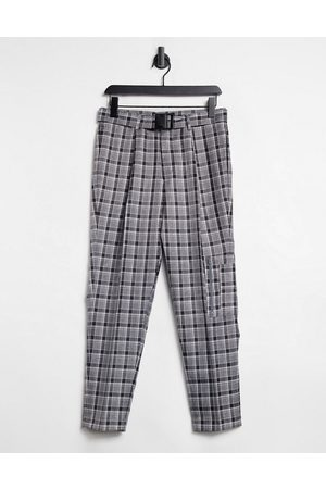 ASOS Tapered smart cargo trousers in check with multi pockets