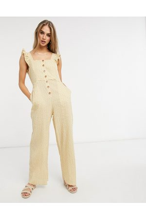 Fashion Union Women Jumpsuits - Exclusive beach button down jumpsuit with frill detail in mustard wave print
