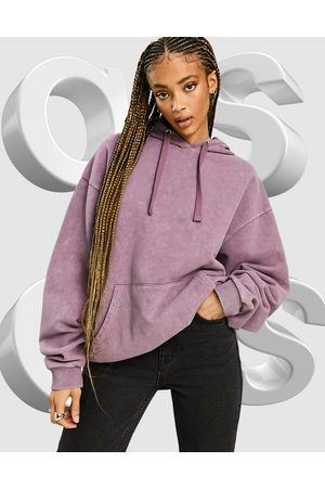 ASOS Oversized hoodie in washed burgundy