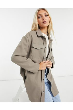 Only Longline shacket with pocket details in taupe