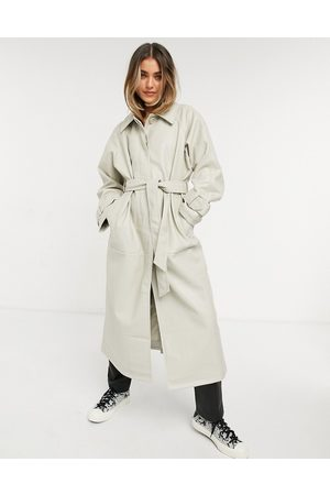 ASOS Collared faux leather trench coat in putty