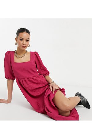 New Look Square neck tiered midi smock dress in