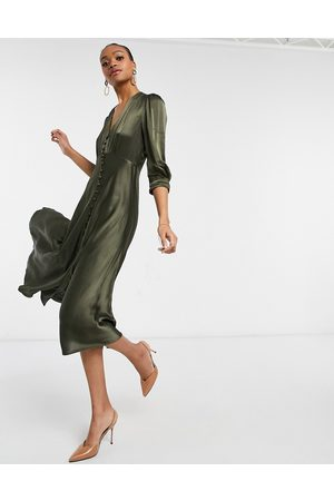 Ghost Madison button midi dress in khaki