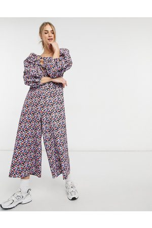 ASOS Double puff sleeve tie front jumpsuit in purple floral-Multi