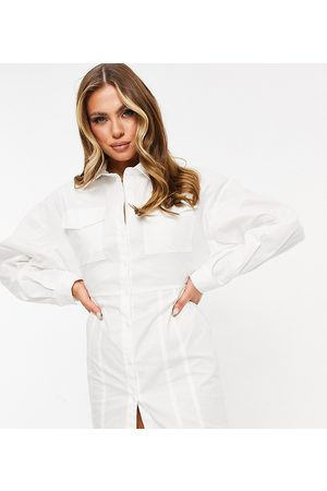 Missyempire Exclusive cut out back detail button through shirt dress in white