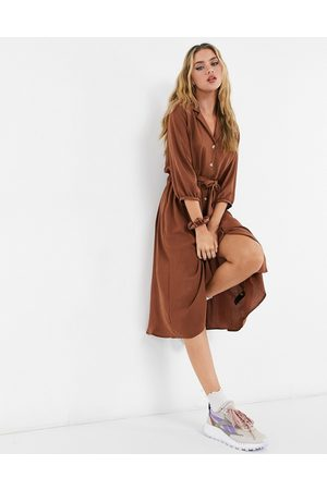 ASOS Button through midi shirt dress with ruched waist in