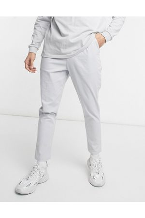 ASOS High waisted cigarette chino trousers in light grey