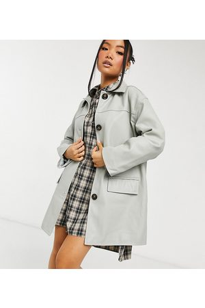 ASOS ASOS DESIGN Petite oversized leather look shacket quilt lined in grey
