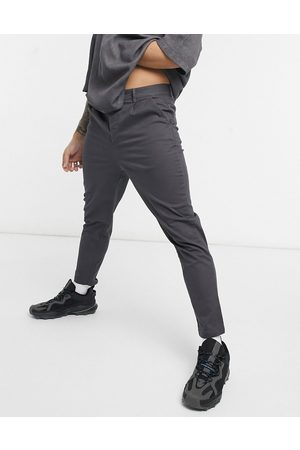 ASOS High waisted cigarette chino trousers in charcoal