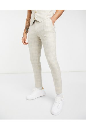 ASOS Summer wedding range super skinny suit trousers in camel check with stripe