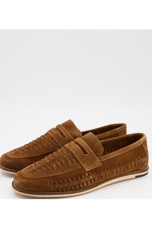 Silver Street Wide fit woven suede loafers in