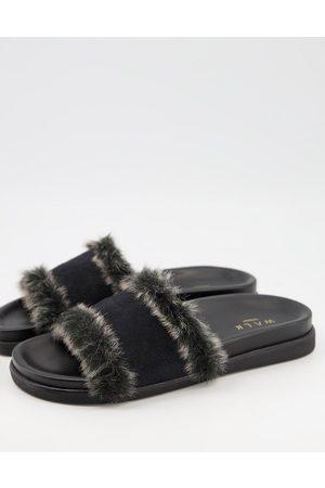WALK LONDON Knighsbridge faux fur lined slider slippers in
