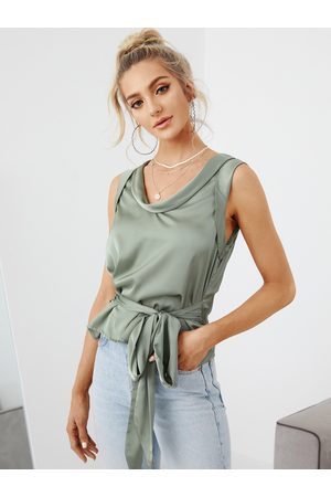 YOINS Tie-up Design V-neck Sleeveless Blouse