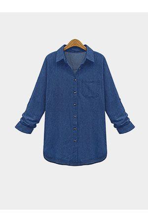 YOINS Women T-shirts - Plus Size Deep Classic Denim Shirt