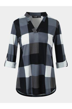 YOINS Women Blouses - Plaid V-neck Long Sleeves Blouse