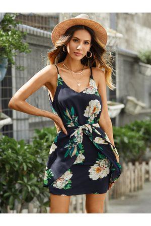 YOINS Random Floral Print Sleeveless Stretch Waist Dress in Navy