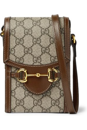 Gucci Men Wallets - Horsebit Leather-Trimmed Monogrammed Coated-Canvas Pouch