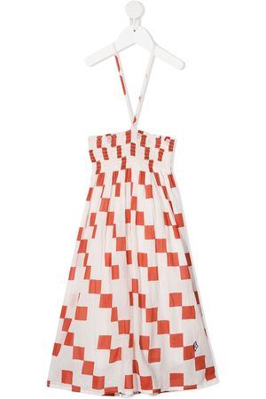 The Animals Observatory Checkered-print ruched cotton dress
